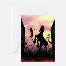Cute fairy with foal in the sunset Greeting Cards