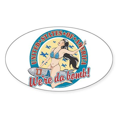 Patriotic Pinup Girl Oval Sticker