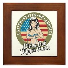 Patriotic Pinup Girl Framed Tile