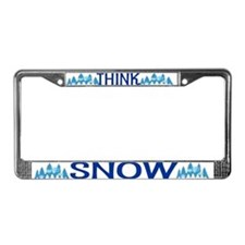 Think Snow License Plate Frame