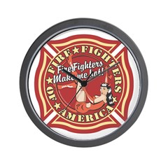 Patriotic Fire Fighter Pinup Girl Wall Clock