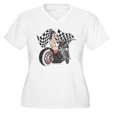 Pin Up Girl On Chopper T-Shirt