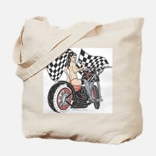 Pin Up Girl On Chopper Tote Bag