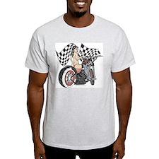 Pin Up Girl On Chopper T-Shirt
