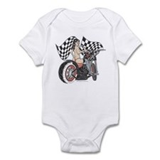 Pin Up Girl On Chopper Infant Bodysuit