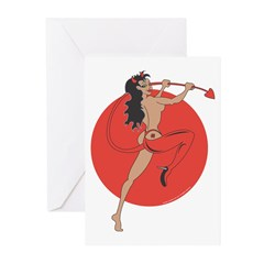 Cool she devil pinup girl Greeting Cards (Pk of 20