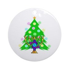 Christmas and Hanukkah Interfaith Ornament (Round)