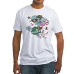 Abstract Birds Butterflies Peace Aqua Fitted T-Shi