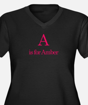 A is for Amber Women's Plus Size V-Neck Dark T-Shi