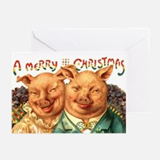Christmas Pigs Blank Inside Greeting Cards 10pk