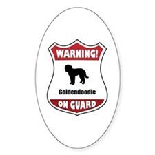 Goldendoodle On Guard Oval Decal
