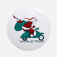 Santa's World Tour Scooter Ornament (Round)