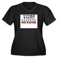 TORI for dictator Women's Plus Size V-Neck Dark T-