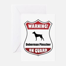 Doberman On Guard Greeting Cards (Pk of 20)