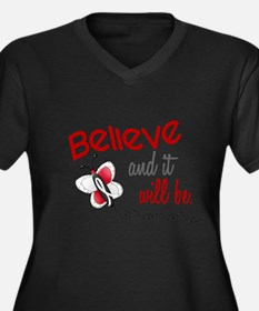 Believe 1 Butterfly 2 PEARL/WHITE Plus Size T-Shir