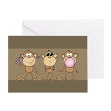 No Evil Monkeys Greeting Card