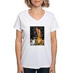 MidEve-EnglishSpringer7 Women's V-Neck T-Shirt