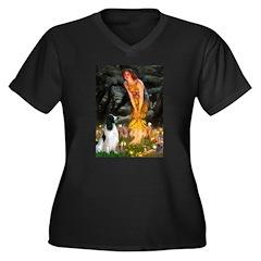 MidEve-Engli Women's Plus Size V-Neck Dark T-Shirt