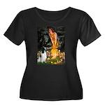 MidEve-E Women's Plus Size Scoop Neck Dark T-Shirt