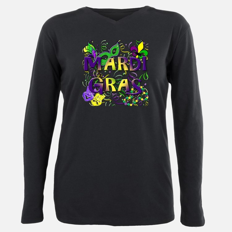 Cute Mardi gras Plus Size Long Sleeve Tee
