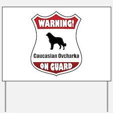 Caucasian On Guard Yard Sign