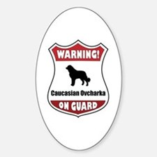 Caucasian On Guard Oval Decal