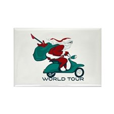 Santa's World Tour Scooter Rectangle Magnet