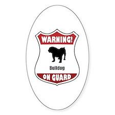 Bulldog On Guard Oval Decal