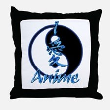 I Love Anime Throw Pillow