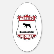 Blackmouth Cur On Guard Oval Decal