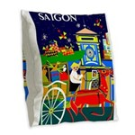 Saigon Travel and Tourism Print Burlap Throw Pillo