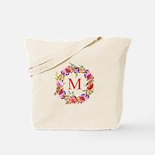 Chic Floral Wreath Monogram Tote Bag