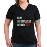 Off Duty Law Enf. Off. Women's V-Neck Dark T-Shirt