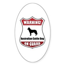 Cattle Dog On Guard Oval Decal