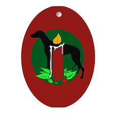 Greyhound Holiday Oval Ornament