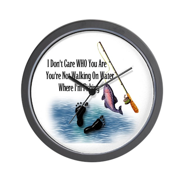 Fishing here wall clock by ursinelogic for Fish wall clock
