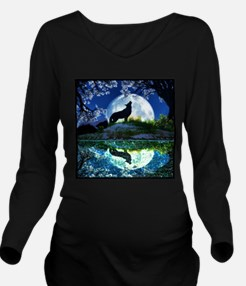 Coyote Moon Long Sleeve Maternity T-Shirt