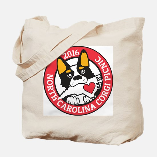 2016 NC Corgi Picnic logo-red border Tote Bag