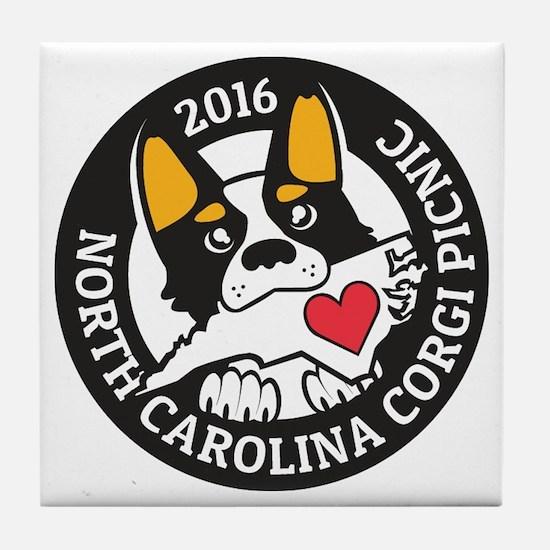 2016 NC Corgi Picnic logo-black borde Tile Coaster