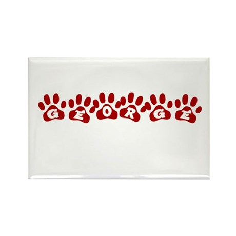 George Paw Prints Rectangle Magnet