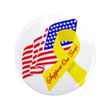 """Support Our Troops US Flag 3.5"""" Button"""