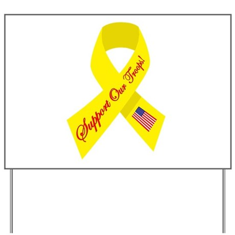 Support Our Troops Yellow Rib Yard Sign