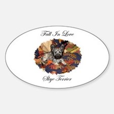 Skye Terrier - Fall In Love Oval Decal
