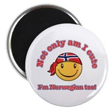 "Not only am I cute i'm Norwegian too 2.25"" Magnet"