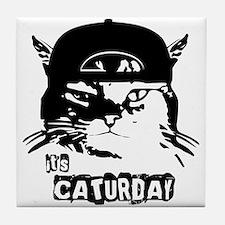 Caturday Tile Coaster