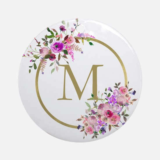 Floral and Gold Monogram Round Ornament