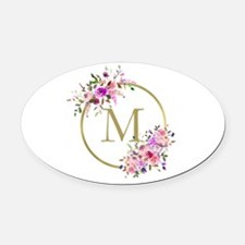 Floral and Gold Monogram Oval Car Magnet