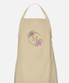 Floral and Gold Monogram Light Apron