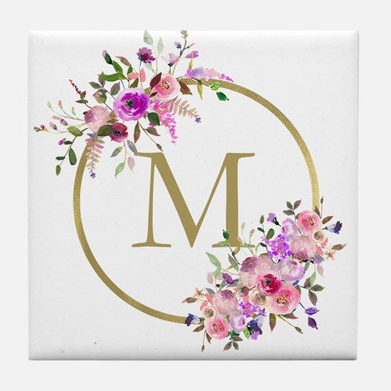 Floral and Gold Monogram Tile Coaster