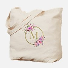 Floral and Gold Monogram Tote Bag